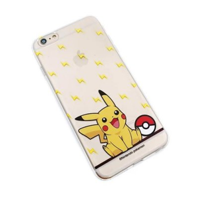 Transparent TPU skal, Pokemon Go Pikachu & blixtar, iPhone 6s Plus/6 Plus