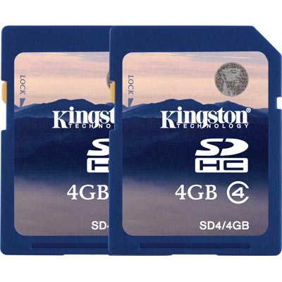 2-pack 4GB SDHC, Class 4